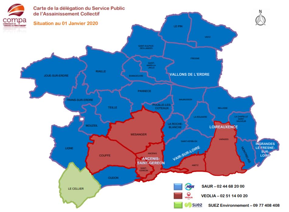 Carte des délégataires du service public d'assainissement collectif du Pays d'Ancenis 2020