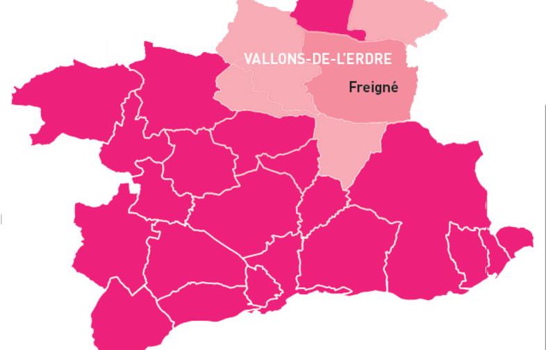 Carte avec anciennes limites communales des communes de la commune nouvelle les vallons-de-l'erdre