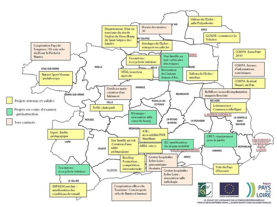 Carte des projets leader sur le Pays d'Ancenis
