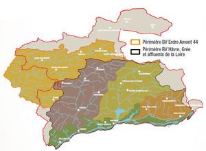 Carte des bassins versants du Pays d'Ancenis Erdre amont et Hâvre Grée et affluents de la Loire
