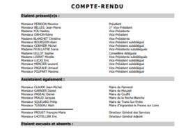 Une du Compte-Rendu du Bureau Communautaire du 12 Novembre 2020