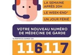 La semaine après 20h, le week-end à partir de 12h, un jour férié, votre nouveau numéro de médecine de garde 116 117 - en cas d'urgence vitale, appelez le 15