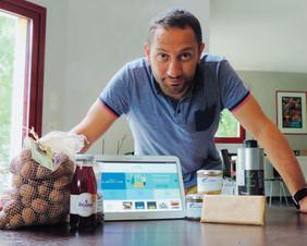 Frédéric Groleau avec les produits disponibles sur miammarket.fr