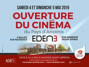 Ouverture du nouveau cinéma eden 3 les samedi 4 et dimanche 5 mai 2019