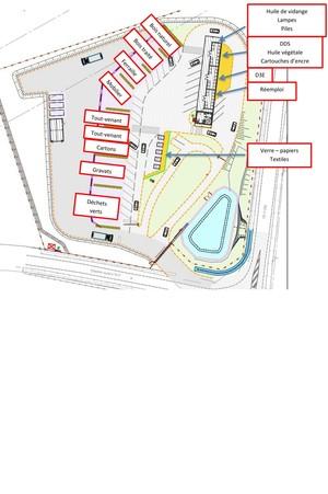 Plan de la déchèterie du secteur de Ligné (44850)