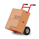 Cartons de déménagement sur un cabrouet