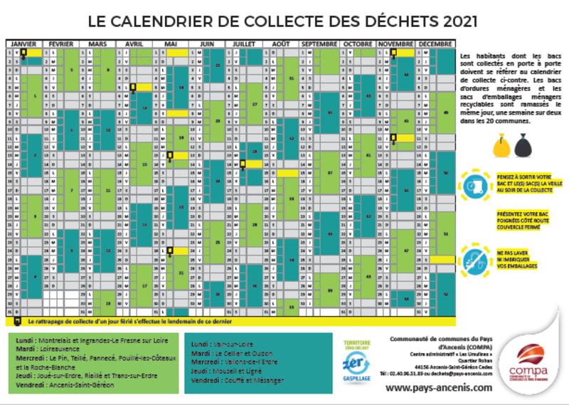 Déchets : Le calendrier de collecte 2021 est disponible