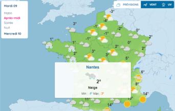 carte prévision météo neige Pays d'Ancenis