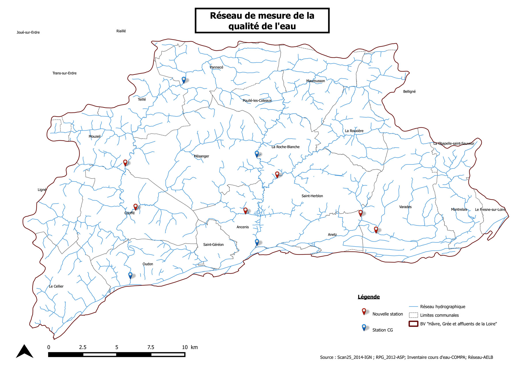 Carte de localisation du réseau de mesure de la qualité de l'eau