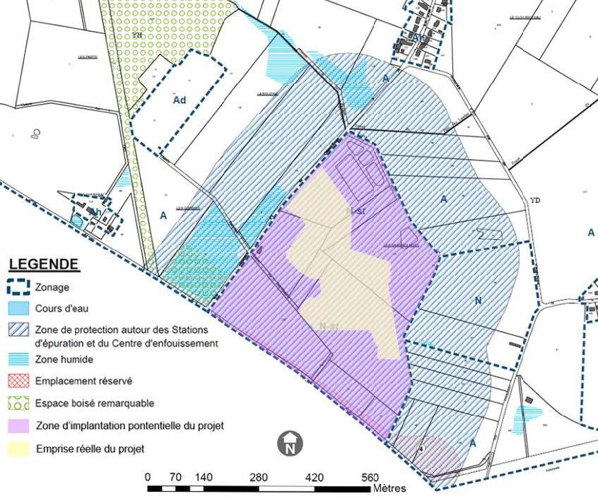 Localisation du projet sur le plan de zonage du PLU de Mésanger