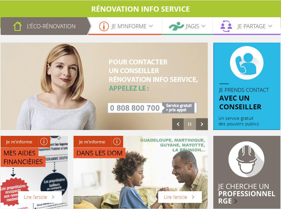 Page d'accueil du site internet Rénovation Info Service
